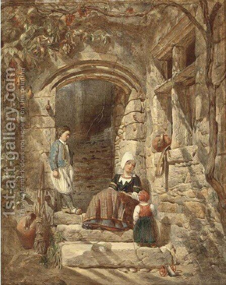 On the sunlit stairs by Alfred Provis - Reproduction Oil Painting