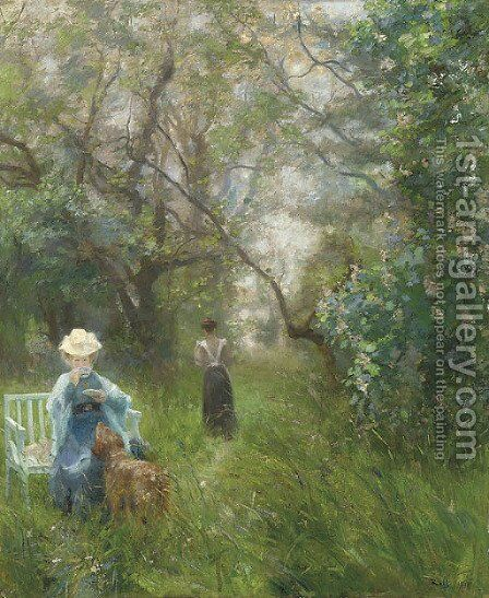 Tea in a sunlit glade by Alfred Roll - Reproduction Oil Painting