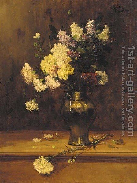 Geraniums and lilac in a copper vase by Alfred Rouby - Reproduction Oil Painting