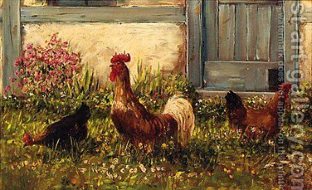 Chickens by a Barn by Alfred Schonian - Reproduction Oil Painting