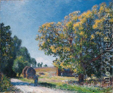 Autour de la foret, une clairiere by Alfred Sisley - Reproduction Oil Painting
