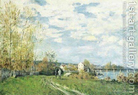 Bords de Seine a Bougival by Alfred Sisley - Reproduction Oil Painting