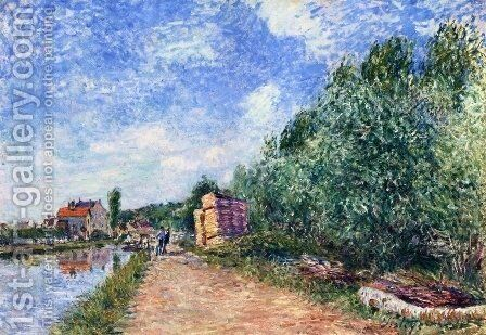 Canal du Loing - Chemin de halage by Alfred Sisley - Reproduction Oil Painting