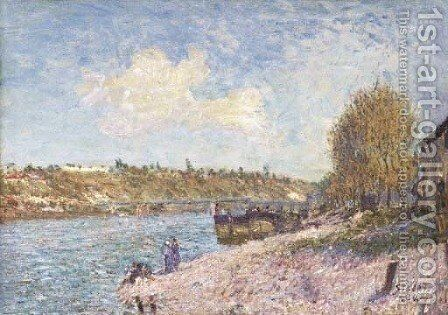 La berge a Saint-Mammes by Alfred Sisley - Reproduction Oil Painting