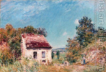 La maison abondonnee by Alfred Sisley - Reproduction Oil Painting