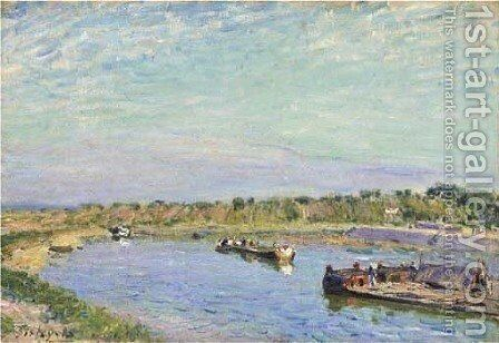 Le Port de Saint Mammes, le matin by Alfred Sisley - Reproduction Oil Painting