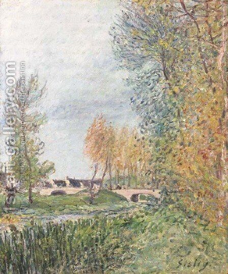 Pont de l'Orvanne by Alfred Sisley - Reproduction Oil Painting
