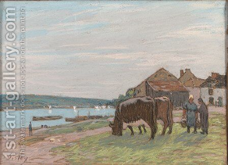 Vaches au paturage by Alfred Sisley - Reproduction Oil Painting