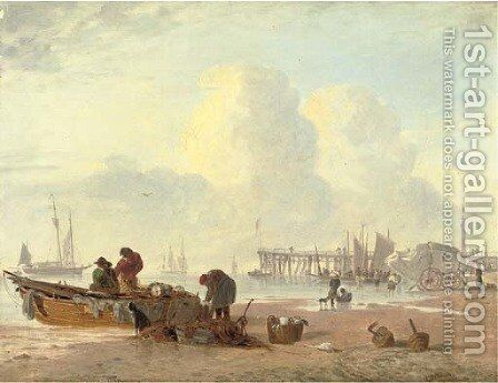 A coastal scene with fisherfolk in the foreground by Alfred Stannard - Reproduction Oil Painting