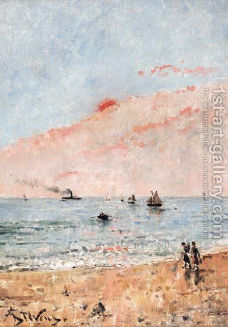 A la plage by Alfred Stevens - Reproduction Oil Painting