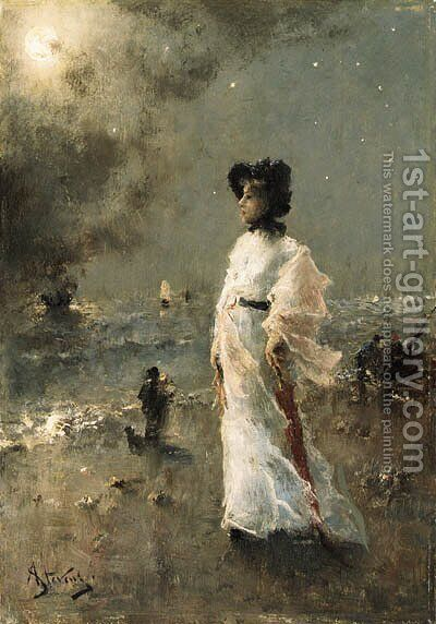 A Moonlit Stroll by Alfred Stevens - Reproduction Oil Painting