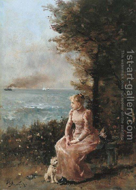 A Young Girl Seated by a Tree by Alfred Stevens - Reproduction Oil Painting