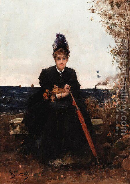 Afternoon by the sea by Alfred Stevens - Reproduction Oil Painting