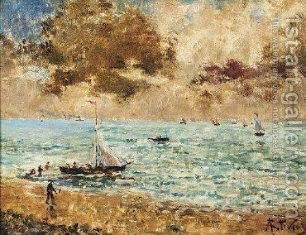Sailing vessels off the seashore by Alfred Stevens - Reproduction Oil Painting