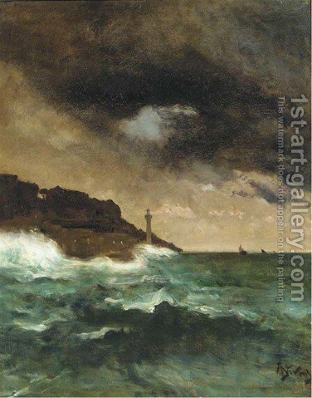 The lighthouse at dusk by Alfred Stevens - Reproduction Oil Painting