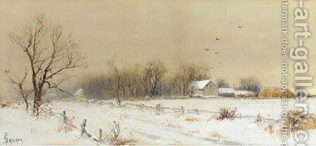 Farmhouse in the Snow by Alfred Thompson Bricher - Reproduction Oil Painting