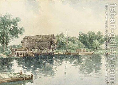 The Boathouse by Alfred Thompson Bricher - Reproduction Oil Painting