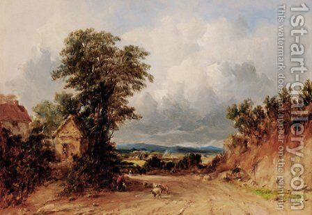 Figures and sheep on a track, Malvern, Worcestershire by Alfred Vickers - Reproduction Oil Painting