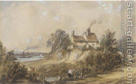 Figures before a cottage, a paddlesteamer on the river beyond by Alfred Vickers - Reproduction Oil Painting
