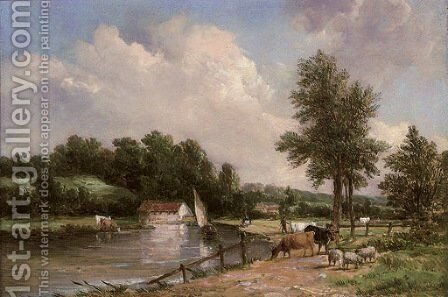 On the Medway by Alfred Vickers - Reproduction Oil Painting