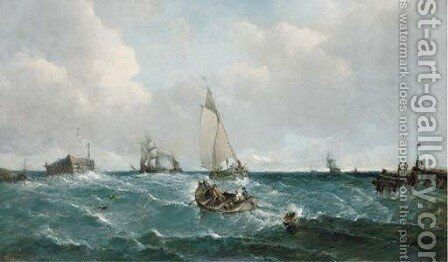Running into harbour with the tide by Alfred Vickers - Reproduction Oil Painting