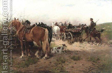 Returning home by Alfred Wierusz-Kowalski - Reproduction Oil Painting