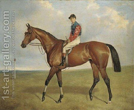 Diamond Jubilee with jockey up by a post by Alfred Wheeler - Reproduction Oil Painting
