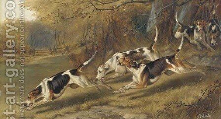 Hounds at full cry by Alfred Wheeler - Reproduction Oil Painting