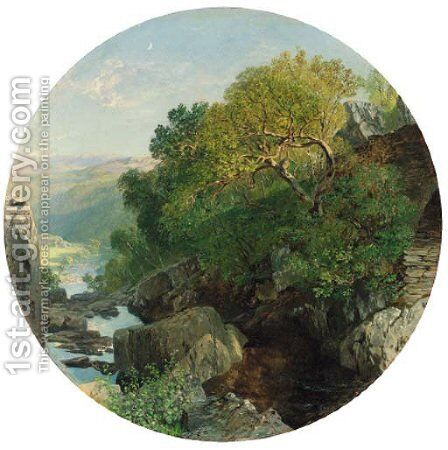A sunlit wooded river valley by Alfred William Hunt - Reproduction Oil Painting