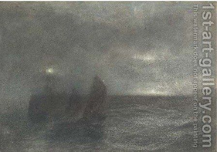 Nocturne fishing boats at twilight by (after) Le Moyne, Jacques (de Morgues) - Reproduction Oil Painting