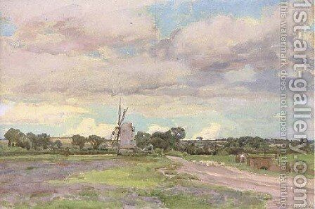 Landscape with a windmill by Alfred Parsons - Reproduction Oil Painting