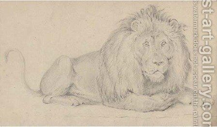 A lion by Alfred William Strutt - Reproduction Oil Painting