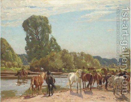New Forest ponies at Tyrrell's Ford by Algernon Talmage - Reproduction Oil Painting