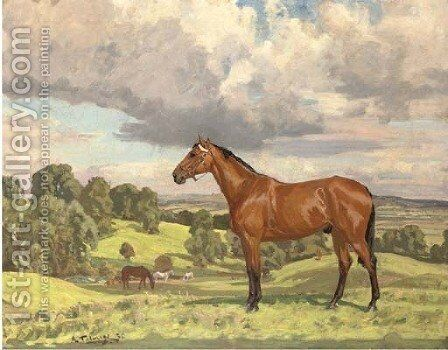 Hunters grazing in an extensive landscape by Algernon Talmage - Reproduction Oil Painting