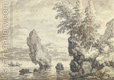 A rocky coastal landscape with pine trees, figures in a rowing boat beyond by Allaert van Everdingen - Reproduction Oil Painting