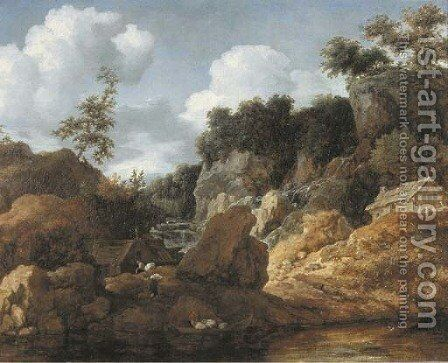A wooded river landscape with peasants loading a boat by Allaert van Everdingen - Reproduction Oil Painting