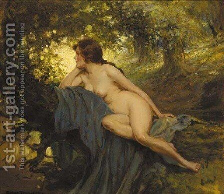 A reclining female nude in a sunlit glade by Allan Douglas Davidson - Reproduction Oil Painting