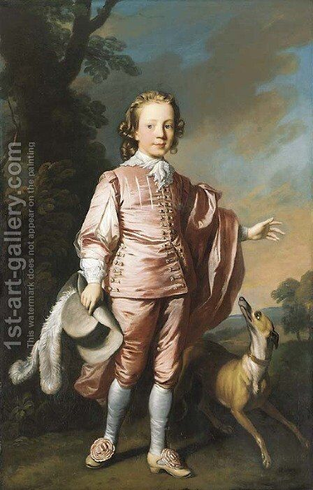 Portrait of John Prideaux Basset (1740-1756), full-length, in pink van Dyck dress, a whippet at his side, in a wooded landscape by Allan Ramsay - Reproduction Oil Painting