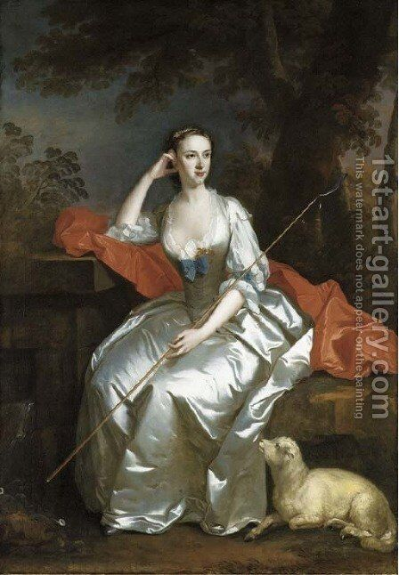 Portrait of Lady Jane Douglas, full-length, as a shepherdess seated in a landscape by Allan Ramsay - Reproduction Oil Painting