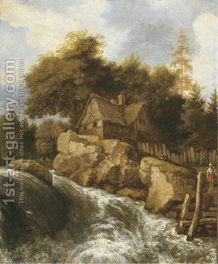 A rocky Nordic landscape with peasants on a path by a waterfall, before a cottage by Allaert van Everdingen - Reproduction Oil Painting