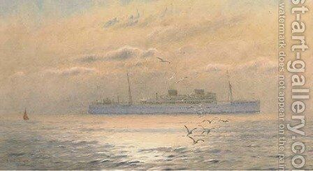 A Union Castle liner in coastal waters at dusk by Alma Claude Burlton Cull - Reproduction Oil Painting