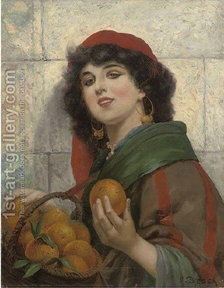 The orange seller by Alois Broch - Reproduction Oil Painting