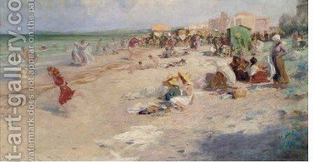 A day at the seaside by Alois Hans Schram - Reproduction Oil Painting