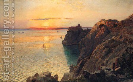 A Coastal Landscape With A Castle At Sunset, Trieste by Anton Hlavacek - Reproduction Oil Painting
