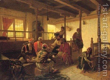 The game of backgammon by Alois Schonn - Reproduction Oil Painting