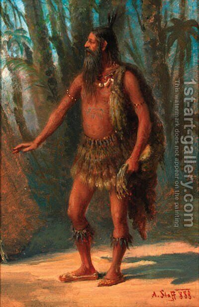 A tribesman in a clearing by Alois Stoff - Reproduction Oil Painting