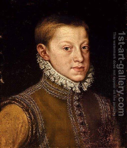 Portrait of Archduke Rudolph II, Holy Roman Emperor, as a boy, bust-length by Alonso Sanchez Coello - Reproduction Oil Painting