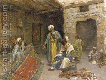 At the bazar the carpet seller by Alphons Leopold Mielich - Reproduction Oil Painting