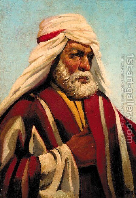 An Arab in traditional dress by Alphonse Etienne Dinet - Reproduction Oil Painting