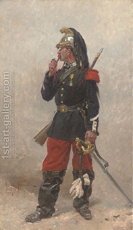 French dragoon by Alphonse Marie de Neuville - Reproduction Oil Painting